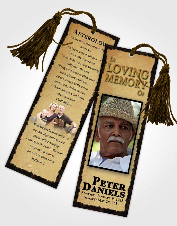 Funeral Bookmark Template Afternoon Outback