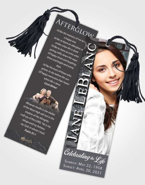 Funeral Bookmark Template Collected Passion
