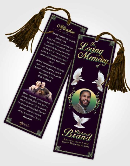 Funeral Bookmark Template Mellow Class Dark