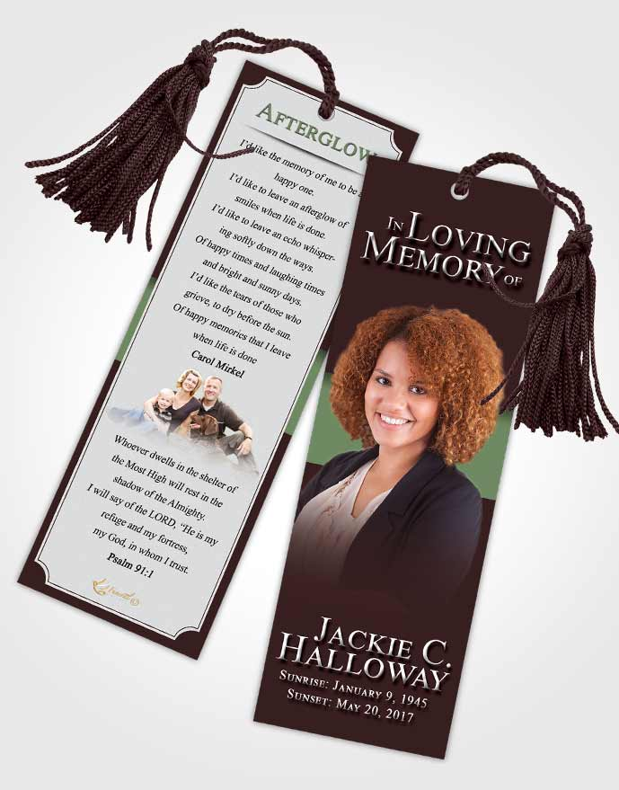 Funeral Bookmark Template Morning Nobility