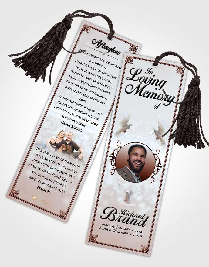 Funeral Bookmark Template Ruby Love Class Light