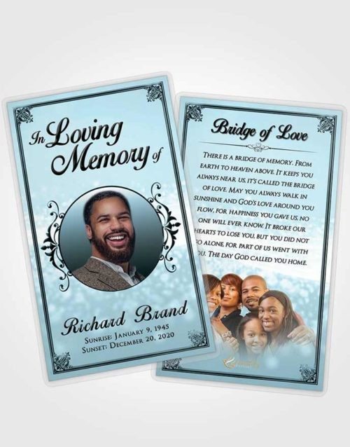 Funeral Prayer Card Template Peaceful Class Light
