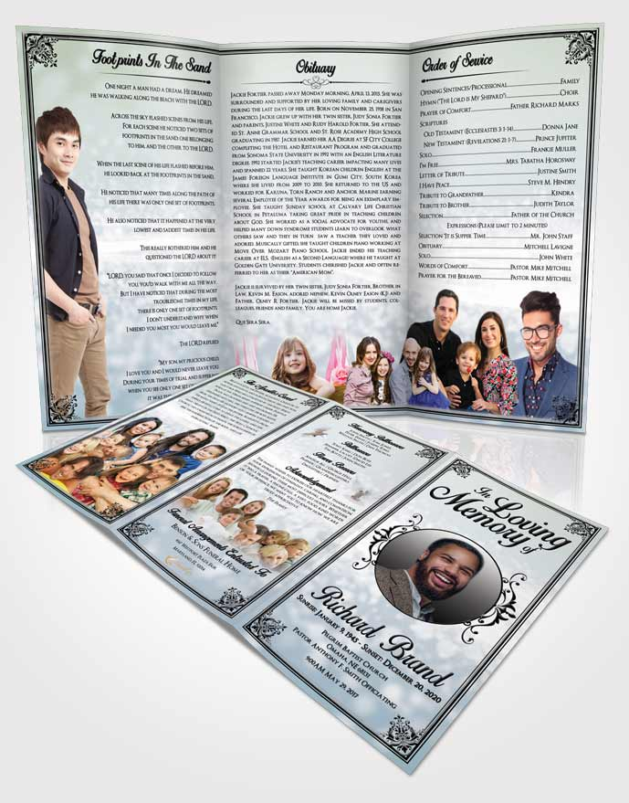 Obituary Template Trifold Brochure Afternoon Class Light