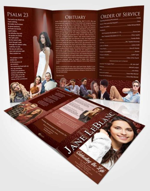 Obituary Template Trifold Brochure Ambient Passion