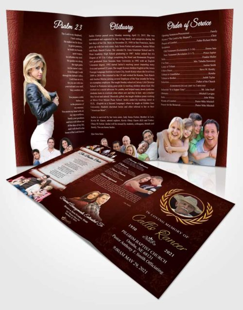 Obituary Template Trifold Brochure Brilliant Desire