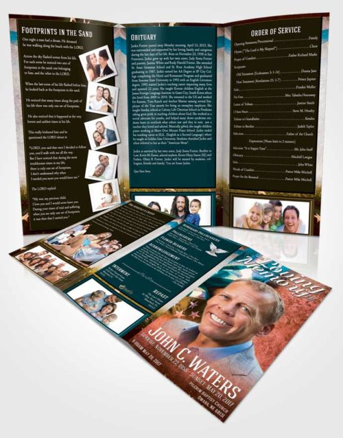 Obituary Template Trifold Brochure Devoted Stars and Stripes