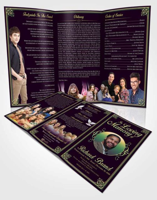 Obituary Template Trifold Brochure Mellow Class Dark