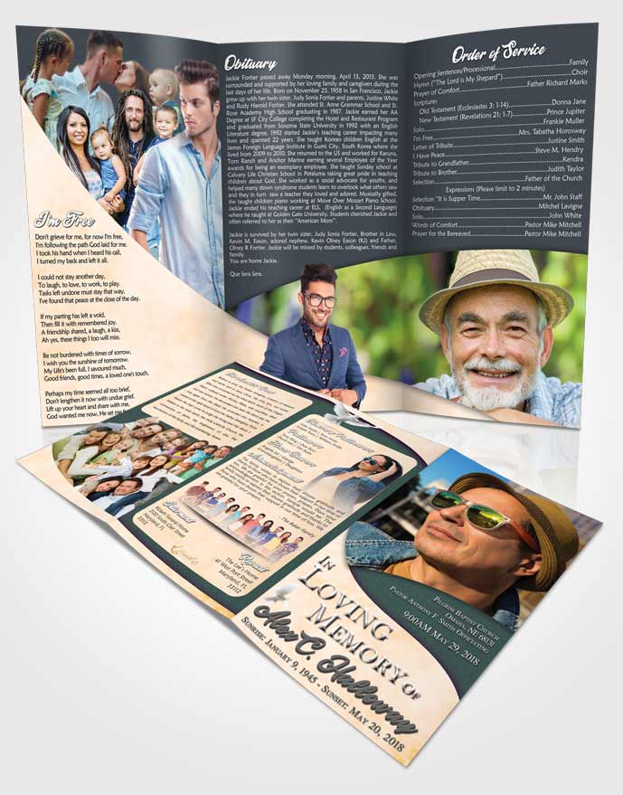 Obituary Template Trifold Brochure Mellow Peace of Mind