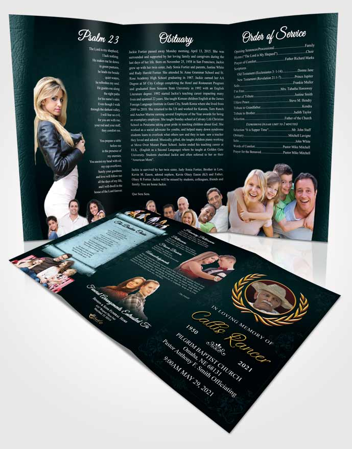 Obituary Template Trifold Brochure Restful Desire