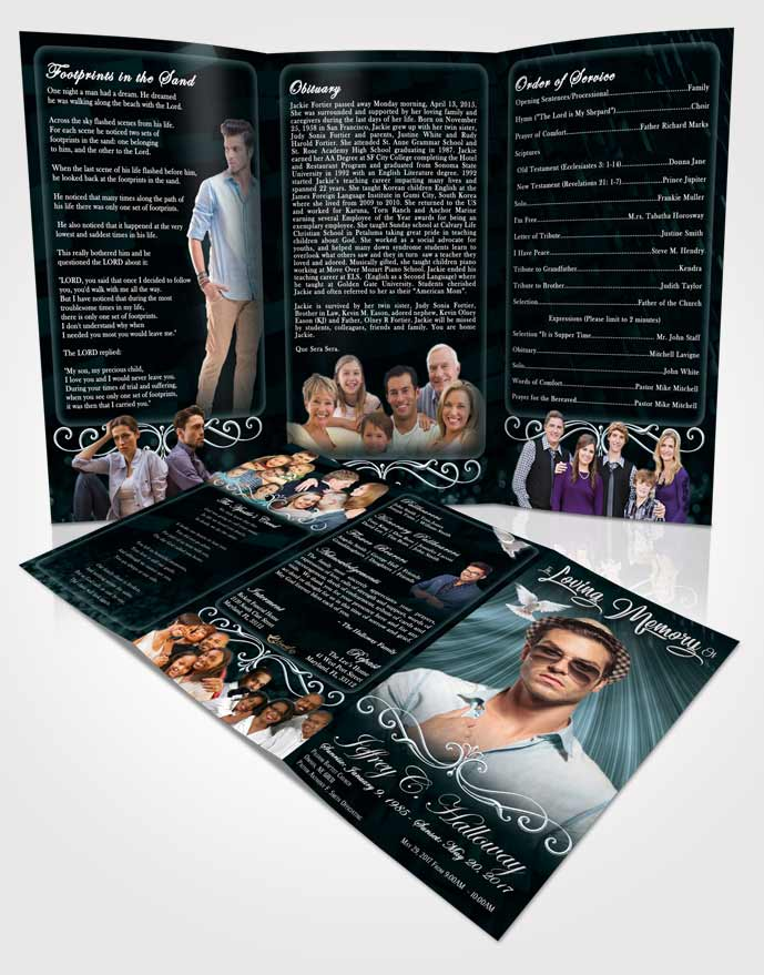 Obituary Template Trifold Brochure Restful Strength