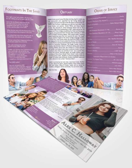 Obituary Template Trifold Brochure Soothing Endurance