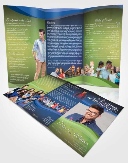 Obituary Template Trifold Brochure Tranquil Fortitude