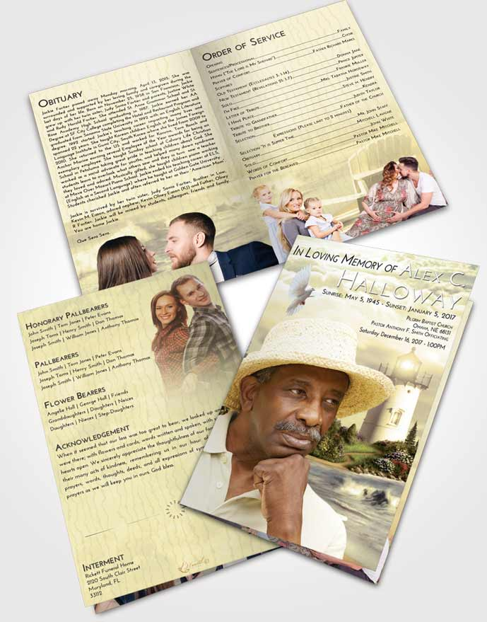 Bifold Order Of Service Obituary Template Brochure At Dusk Lighthouse Laughter