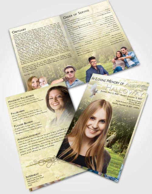 Bifold Order Of Service Obituary Template Brochure At Dusk Summer Forest