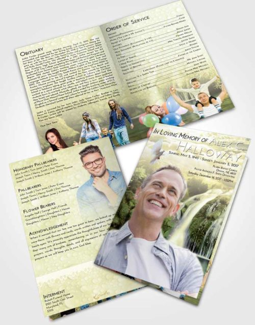 Bifold Order Of Service Obituary Template Brochure At Dusk Waterfall Paradise