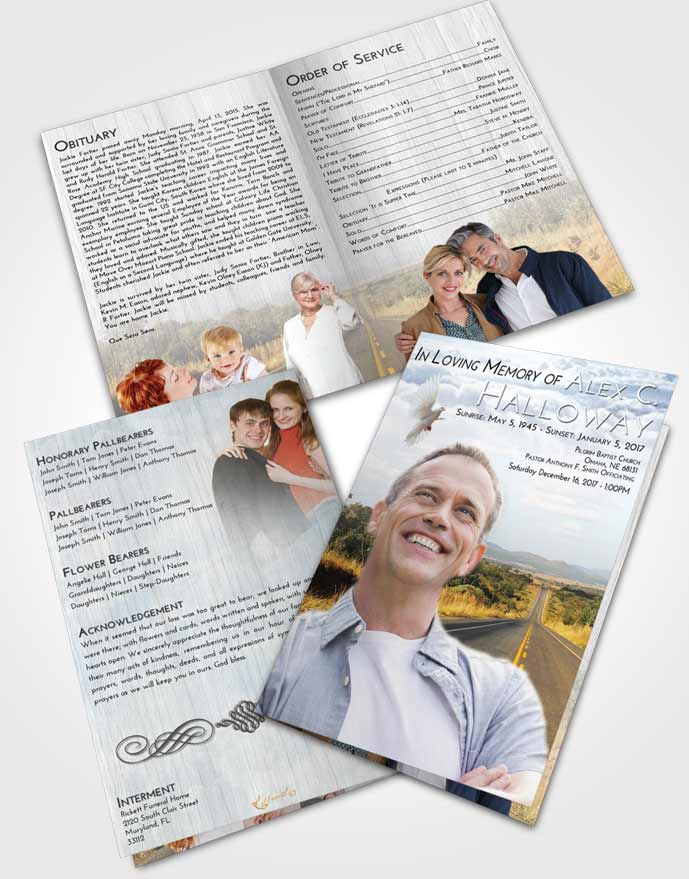 Bifold Order Of Service Obituary Template Brochure Early Highway Cruise
