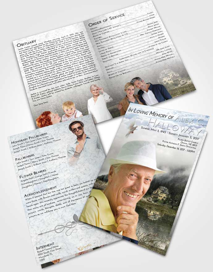 Bifold Order Of Service Obituary Template Brochure Early Lake House