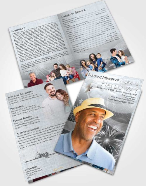 Bifold Order Of Service Obituary Template Brochure Freedom American Patriot