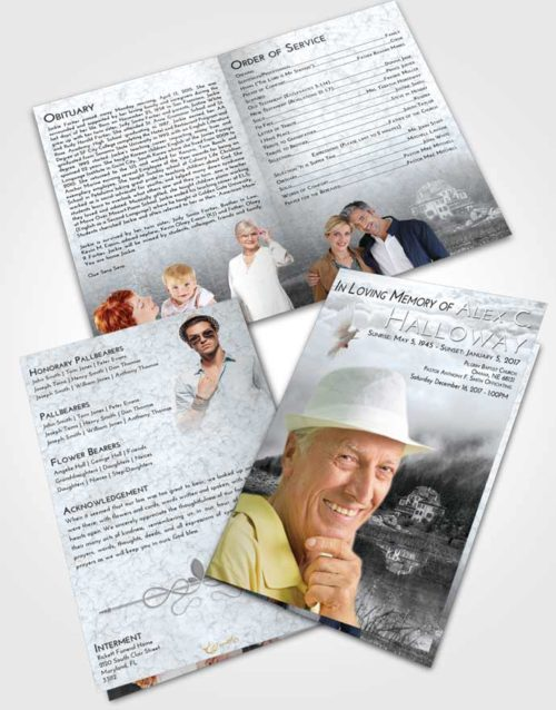 Bifold Order Of Service Obituary Template Brochure Freedom Lake House