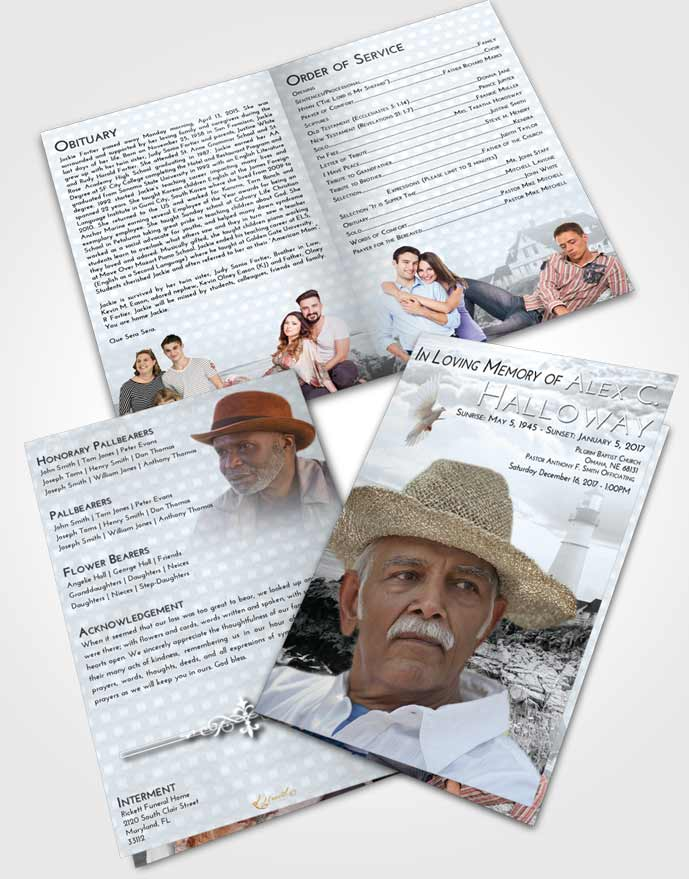 Bifold Order Of Service Obituary Template Brochure Freedom Lighthouse Secret