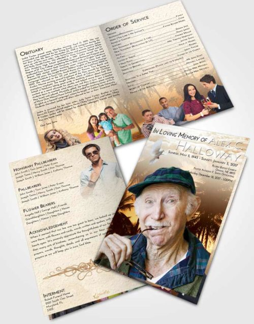 Bifold Order Of Service Obituary Template Brochure Golden Palm Paradise