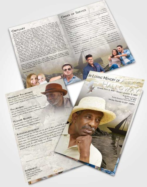 Bifold Order Of Service Obituary Template Brochure Harmony Calm Waters