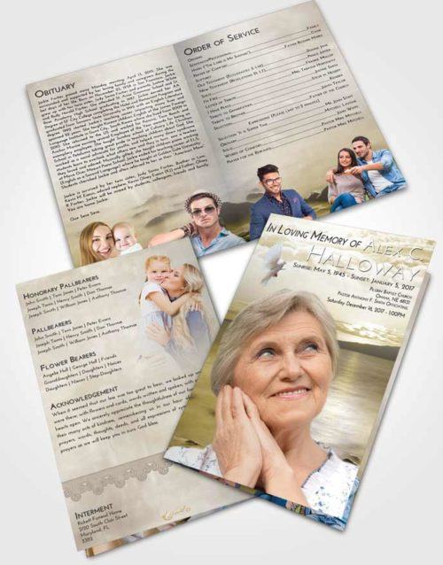 Bifold Order Of Service Obituary Template Brochure Harmony Lake Front