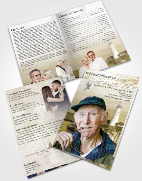 Bifold Order Of Service Obituary Template Brochure Harmony Lighthouse Journey