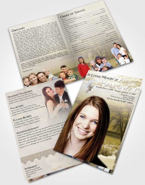 Bifold Order Of Service Obituary Template Brochure Harmony Lovely Lake