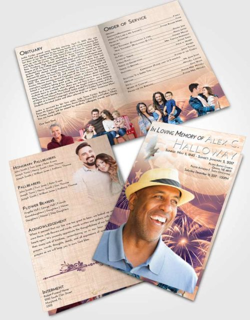 Bifold Order Of Service Obituary Template Brochure Lavender Sunset American Patriot