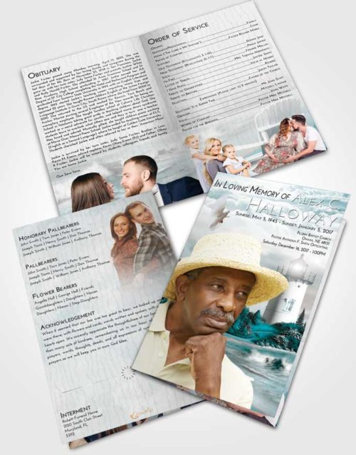 Bifold Order Of Service Obituary Template Brochure Loving Embrace Lighthouse Laughter