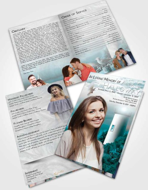 Bifold Order Of Service Obituary Template Brochure Loving Embrace Lighthouse Mystery