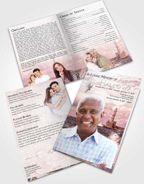 Bifold Order Of Service Obituary Template Brochure Pink Serenity Lighthouse in the Tides