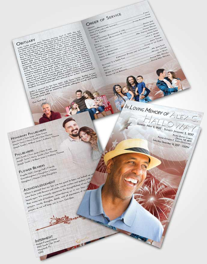 Bifold Order Of Service Obituary Template Brochure Ruby Love American Patriot