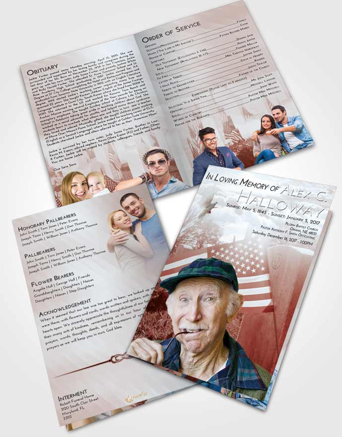 Bifold Order Of Service Obituary Template Brochure Ruby Love American Smile