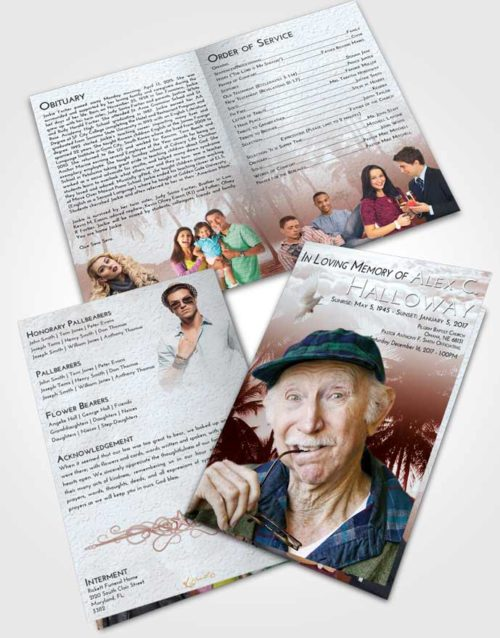 Bifold Order Of Service Obituary Template Brochure Ruby Love Palm Paradise
