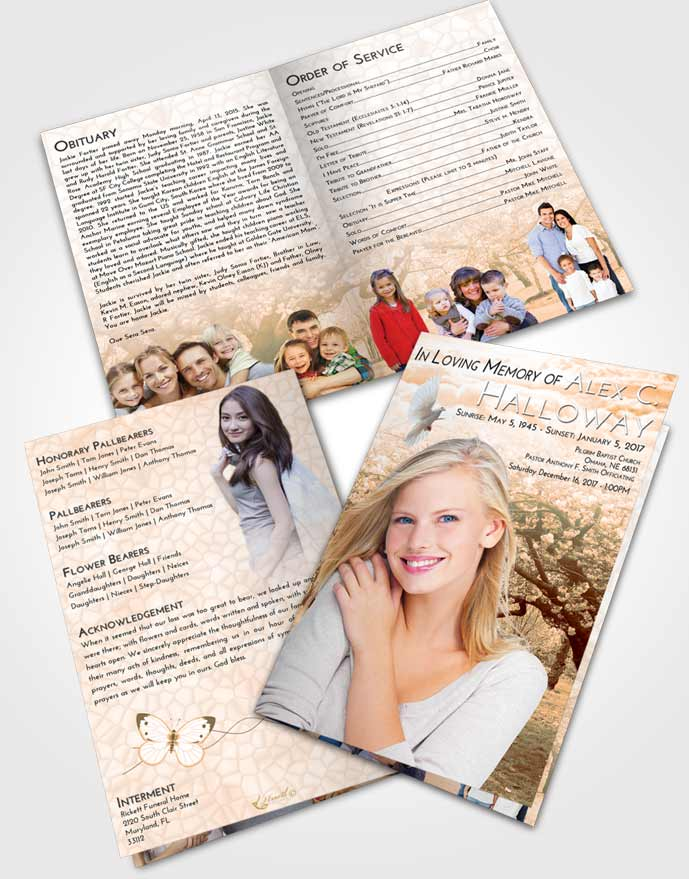 Bifold Order Of Service Obituary Template Brochure Soft Dusk Flowering Path