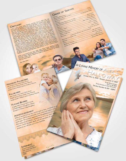 Bifold Order Of Service Obituary Template Brochure Soft Dusk Lake Front