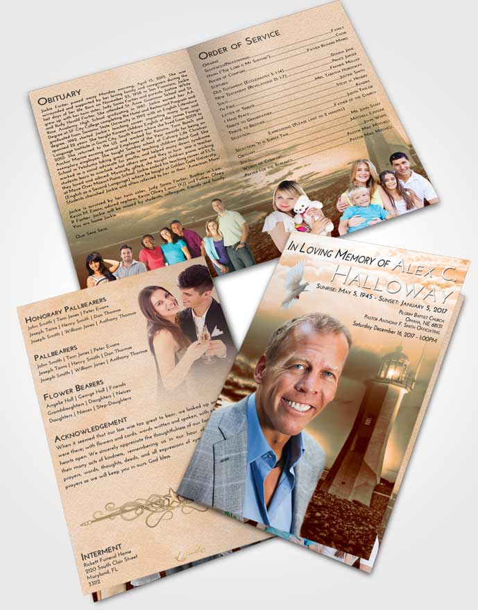 Bifold Order Of Service Obituary Template Brochure Soft Dusk Lighthouse Magnificence