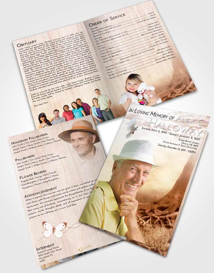 Bifold Order Of Service Obituary Template Brochure Strawberry Love Deep Roots