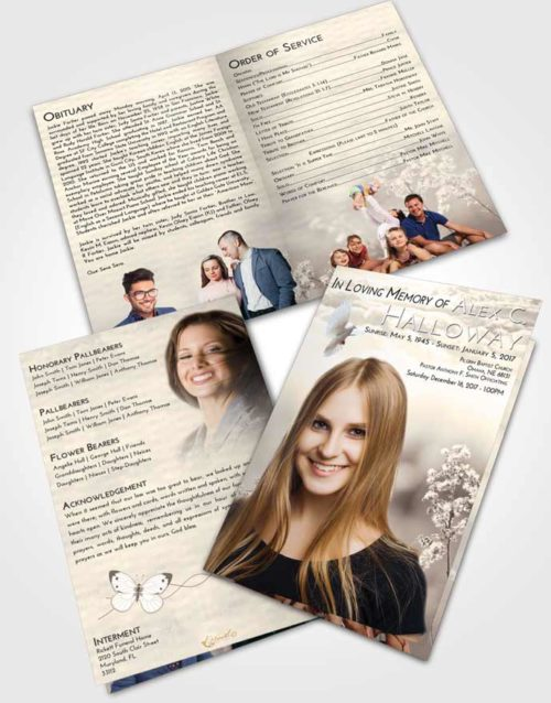 Bifold Order Of Service Obituary Template Brochure Tranquil Colorful Spring