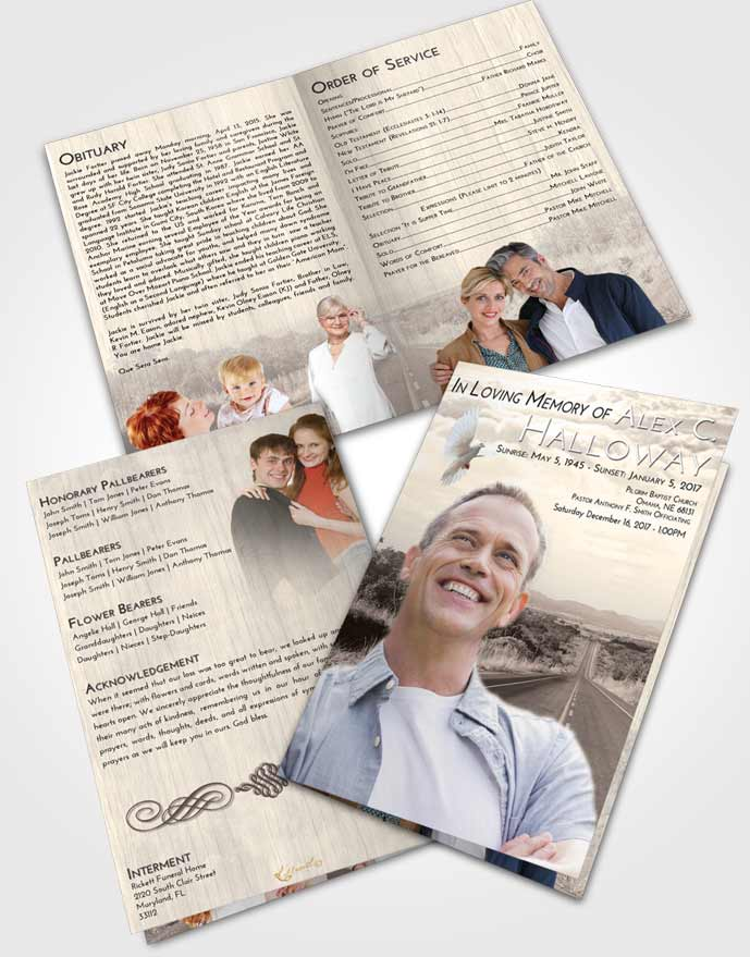 Bifold Order Of Service Obituary Template Brochure Tranquil Highway Cruise