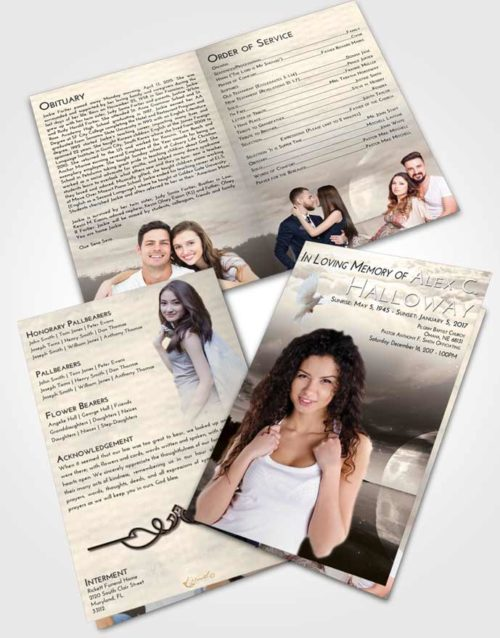 Bifold Order Of Service Obituary Template Brochure Tranquil Illuminated Evening