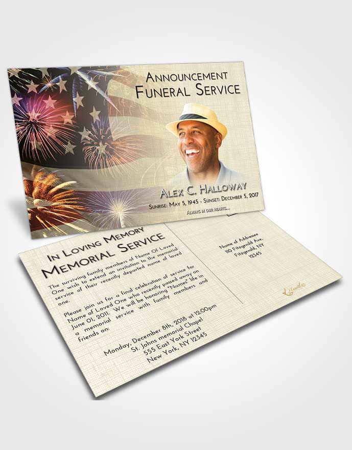 Funeral Announcement Card Template At Dusk American Patriot
