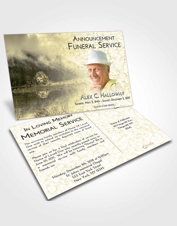 Funeral Announcement Card Template At Dusk Lake House