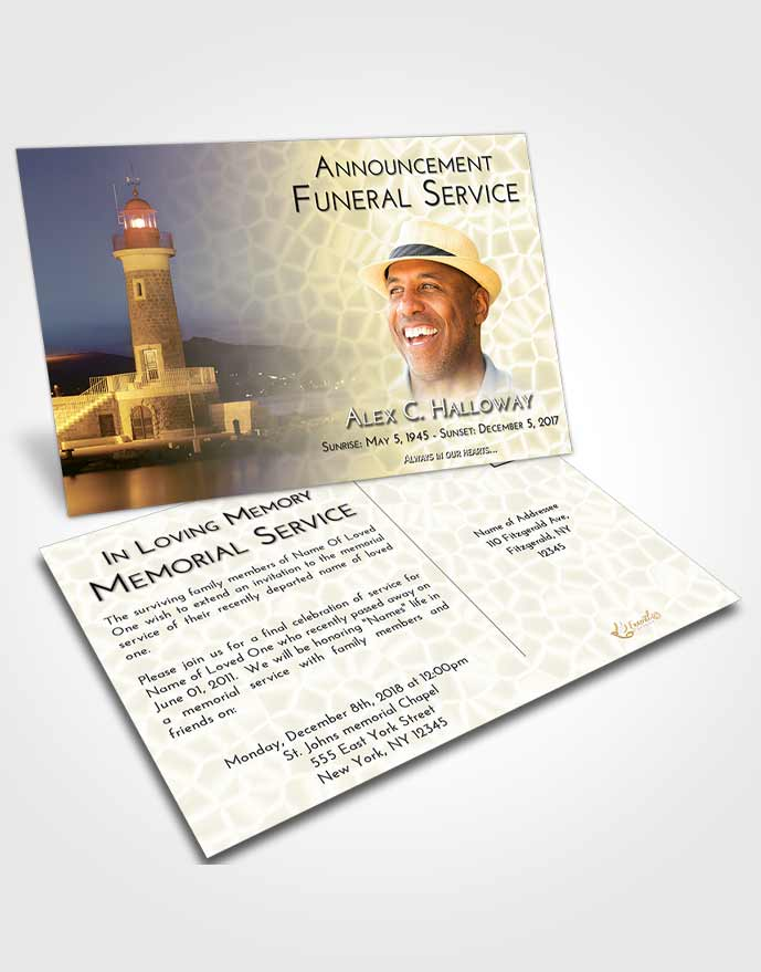 Funeral Announcement Card Template At Dusk Lighthouse Majesty