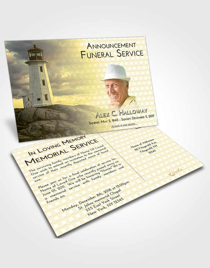 Funeral Announcement Card Template At Dusk Lighthouse Safety