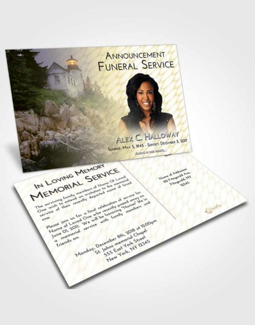 Funeral Announcement Card Template At Dusk Lighthouse on the Rocks