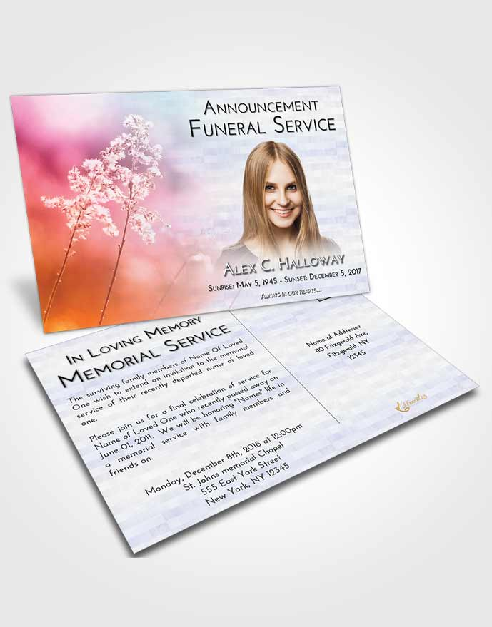 Funeral Announcement Card Template Early Colorful Spring