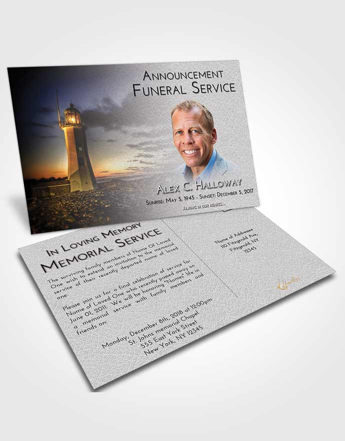 Funeral Announcement Card Template Early Lighthouse Magnificence